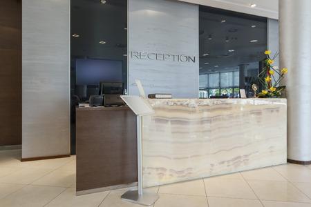 Reception desk in hotel