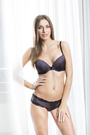 bra model: Beautiful woman posing in bra and panties