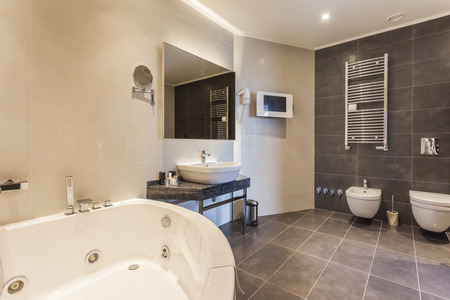 toilet sink: Spacious bathroom  Stock Photo