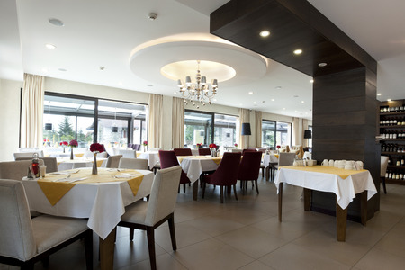 service desk: Elegant restaurant interior Stock Photo