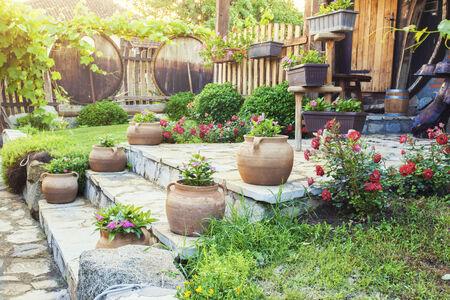 frontyard: House frontyard with flowers Stock Photo