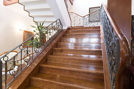 Wooden stairs in hotel photo