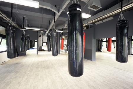 gym: Sacos de boxeo en el gimnasio Foto de archivo