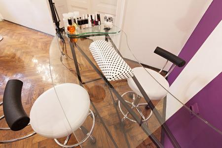 parlour: Manicure table at beauty parlour Stock Photo
