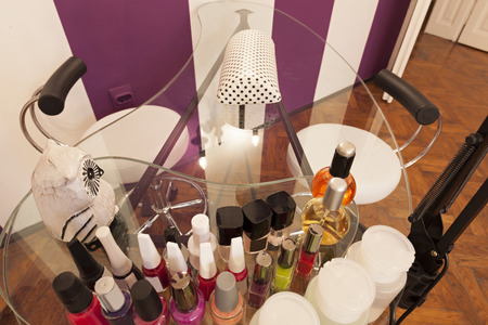 beauty parlour: Manicure table at beauty parlour Stock Photo