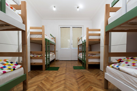 hostel: Bunk beds in a hostel room Stock Photo