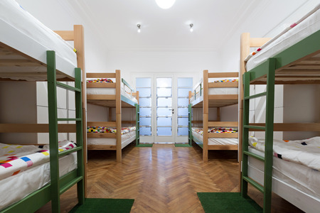 Bunk beds in a hostel room Stock Photo