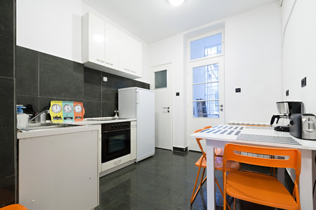 Kitchen and dining room in small apartment