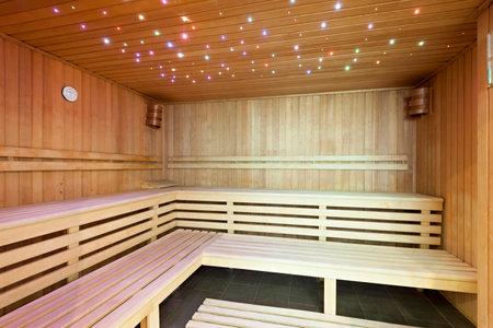 Modern sauna with ambient lights