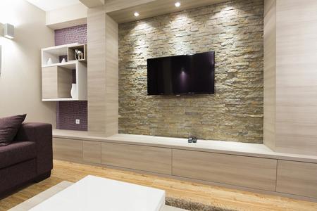 モダンなリビング ルームのインテリア - れんが造りの壁にテレビ