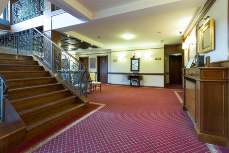 Corridor and stairs in elegant hotel photo