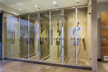 Shower room at modern sauna photo