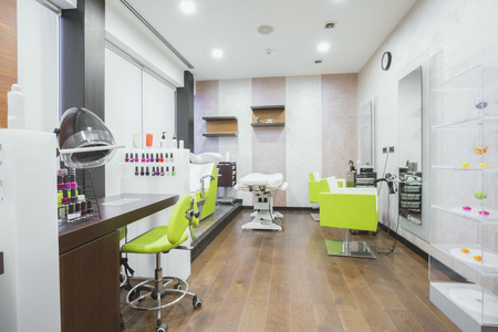 shop interior: Modern beauty salon interior Stock Photo