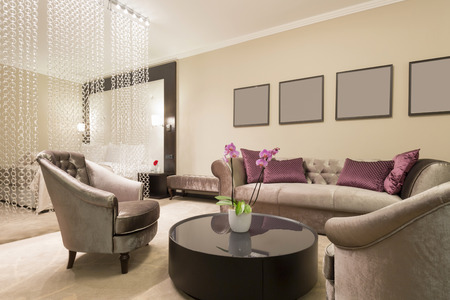 bedroom suite: Modern living room interior Stock Photo