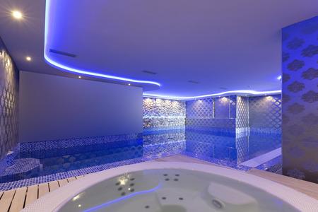 屋内プールとジャグジー スパでカラフルなライトとセンターします。