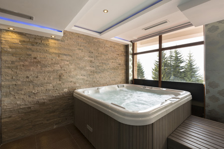 hydrotherapy: Hot tub in spa center Stock Photo