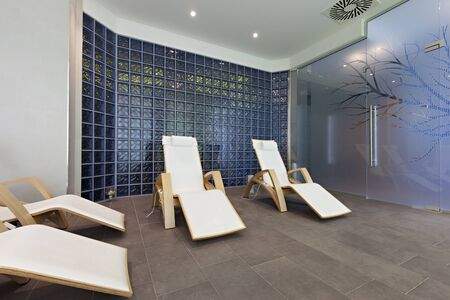 lounge chairs: Lounge chairs at spa center