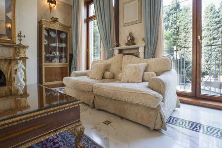 Living room in luxury villa photo