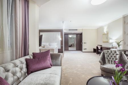 luxury hotel room: Spacious luxury hotel room interior Stock Photo