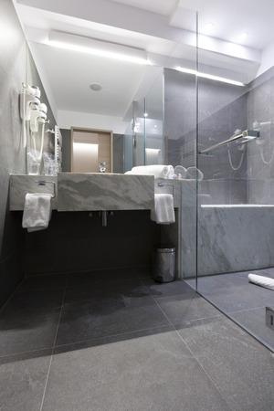 hotel bathroom: Elegant hotel bathroom sink Stock Photo