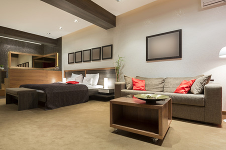 luxury bedroom: Modern luxury bedroom interior Stock Photo