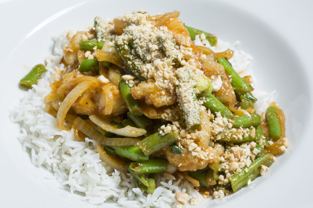 green bean: Thai green bean and meat stiry fry with rice