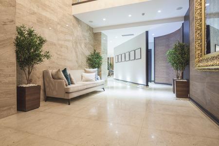 Elegant luxury hotel corridor Imagens