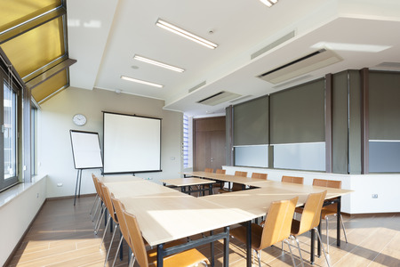 board room: Bright conference room interior Stock Photo