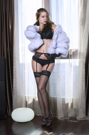 woman in fur coat: Sexy young woman posing in underwear and fur coat Stock Photo