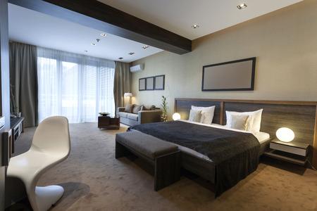 현대 넓은 호텔 방 스톡 콘텐츠