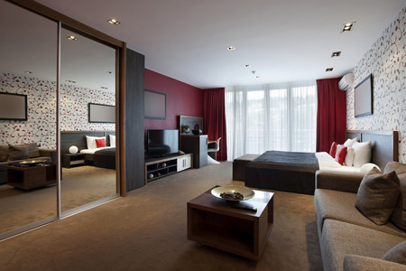 Modern spacious hotel room photo