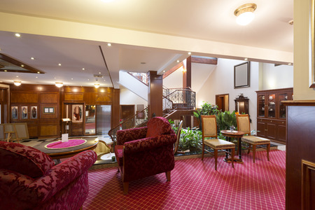 elegant staircase: Fancy hotel lobby interior