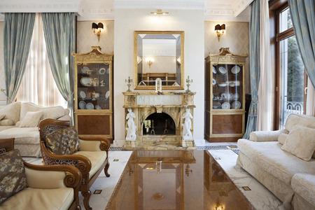 Living room in a fancy villa photo