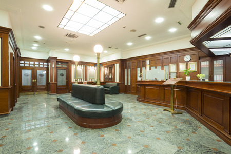 inside of: Classic style hotel lobby interior Stock Photo
