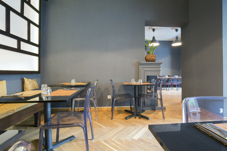 dining table and chairs: Modern asian restaurant interior