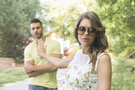 Woman angry with her boyfriend