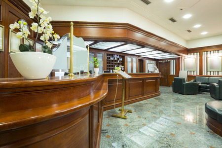bank interior: Classic style hotel lobby interior Stock Photo