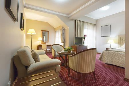 luxury hotel room: Inteiror of a luxury hotel room Stock Photo