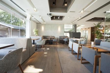 Interior of an elegant riverside cafe Standard-Bild