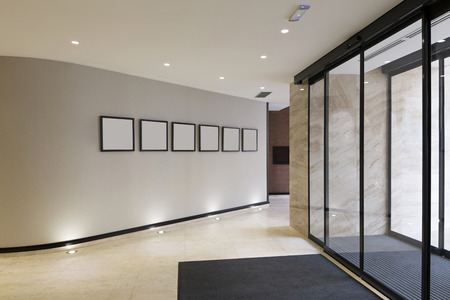 glass door: Modern building entrance