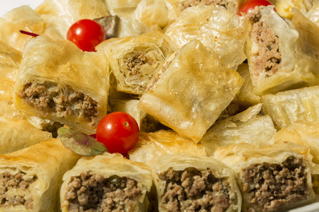 ground beef: Borek rolls with ground beef Stock Photo