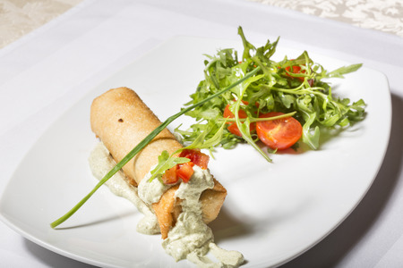 chive: Spring roll with creamy chive sauce