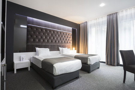 luxury hotel room: Modern elegant twin room interior