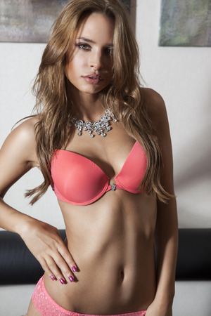 pink bra: Beautiful girl in pink bra and panties