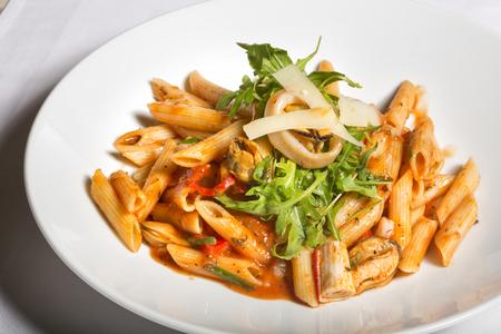 sea food: Sea food and tomato sauce pasta