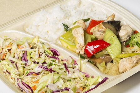 chinese meal: Healthy takeaway Thai food in foam box