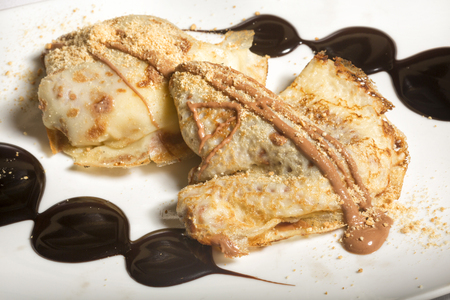 crepas: Crepes de chocolate de postre