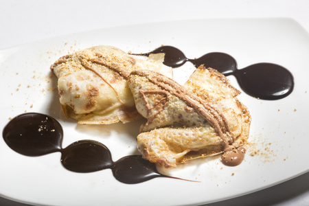 crepes: Crepes de chocolate de postre