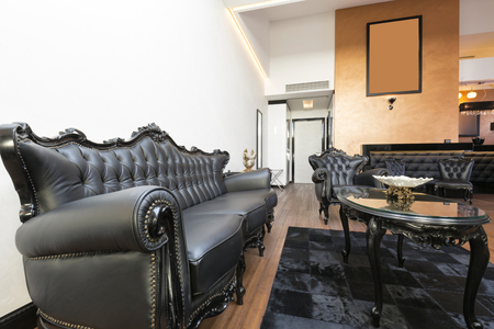 leather furniture: Elegant luxury living room with black leather furniture Editorial