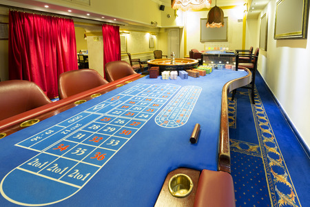casino table: Roulette table at casino Stock Photo